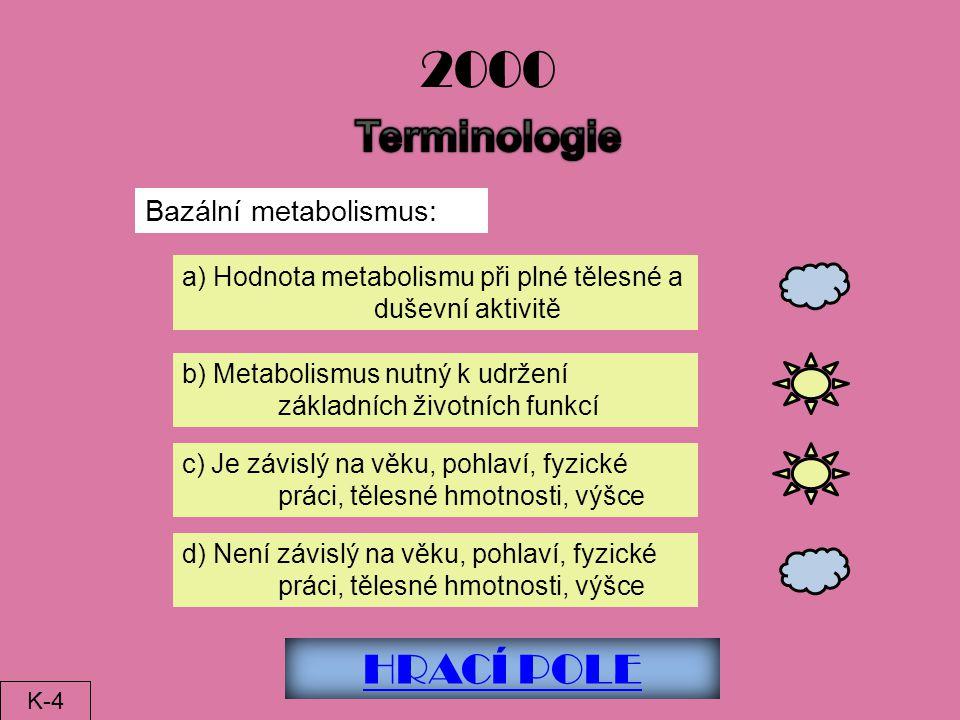 2000 Terminologie HRACÍ POLE Bazální metabolismus:
