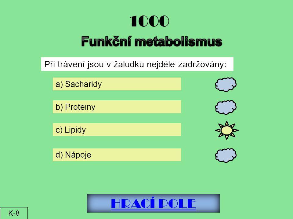 1000 Funkční metabolismus HRACÍ POLE