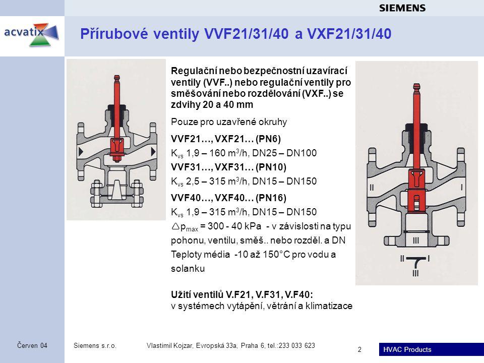 Přírubové ventily VVF21/31/40 a VXF21/31/40