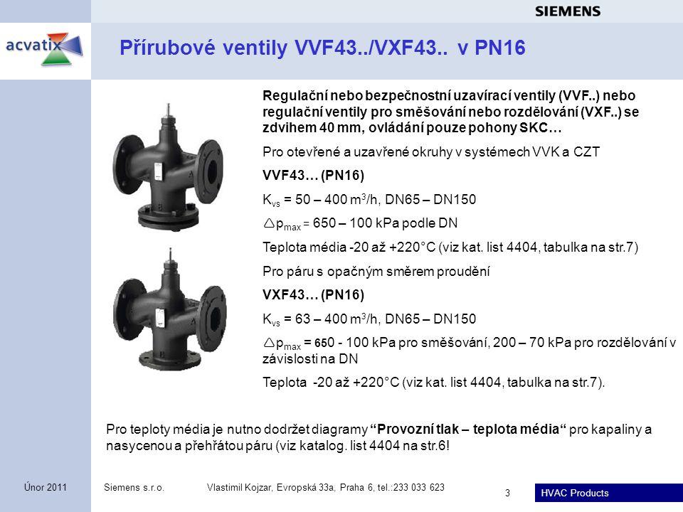 Přírubové ventily VVF43../VXF43.. v PN16