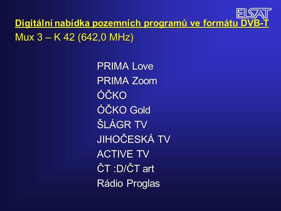Digitální nabídka pozemních programů ve formátu DVB-T Mux 3 – K 42 (642,0 MHz) PRIMA Love PRIMA Zoom ÓČKO ÓČKO Gold ŠLÁGR TV JIHOČESKÁ TV ACTIVE TV ČT :D/ČT art Rádio Proglas