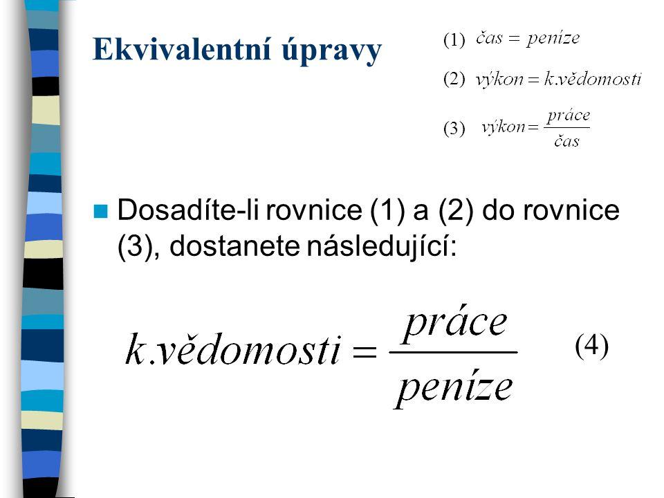 Ekvivalentní úpravy (1) (2) (3) Dosadíte-li rovnice (1) a (2) do rovnice (3), dostanete následující:
