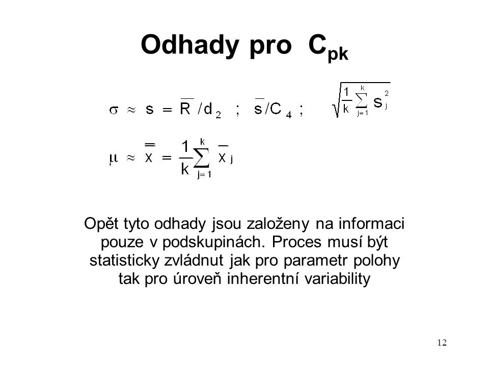 Odhady pro Cpk
