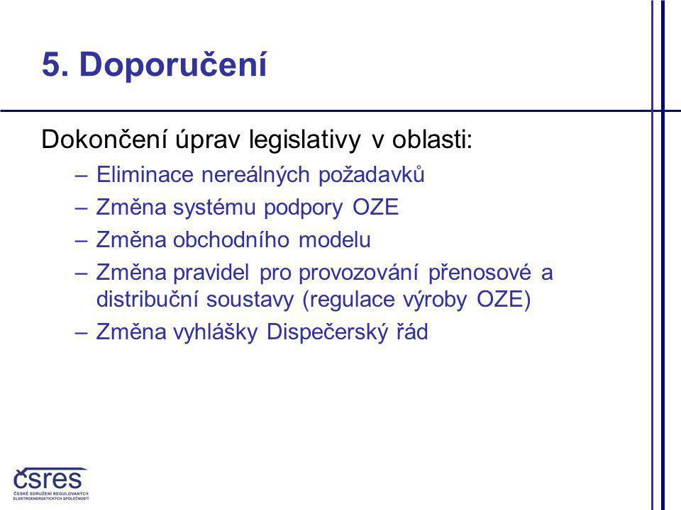5. Doporučení Dokončení úprav legislativy v oblasti: