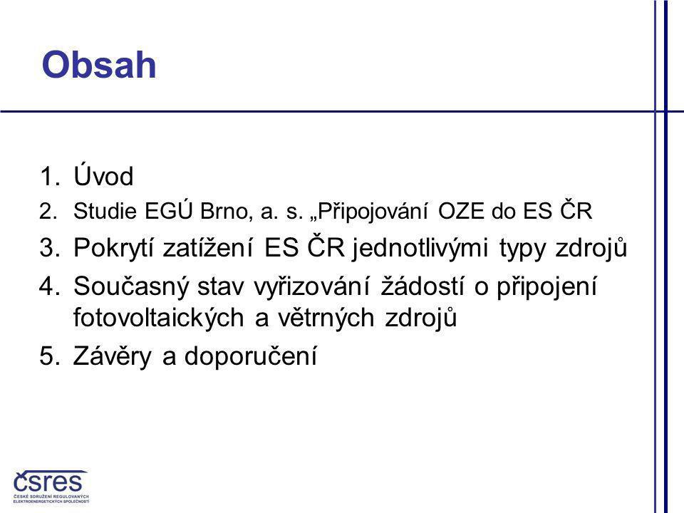 Obsah Úvod Pokrytí zatížení ES ČR jednotlivými typy zdrojů