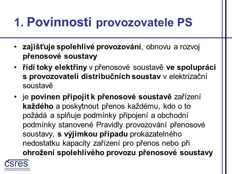 1. Povinnosti provozovatele PS