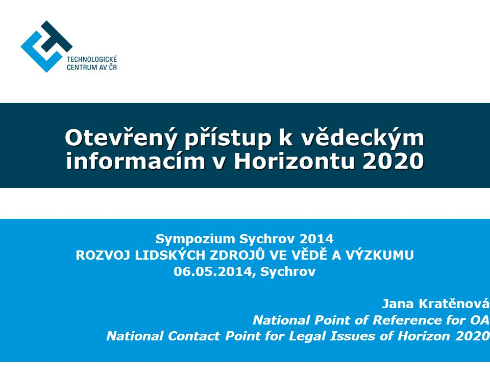 Otevřený přístup k vědeckým informacím v Horizontu 2020