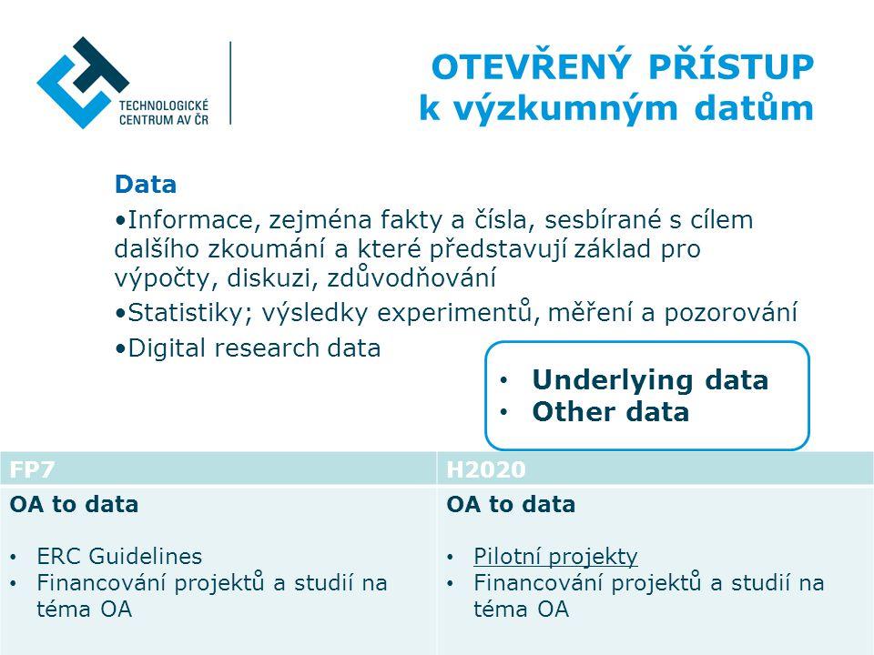OTEVŘENÝ PŘÍSTUP k výzkumným datům Underlying data Other data Data
