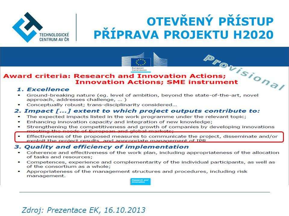 OTEVŘENÝ PŘÍSTUP PŘÍPRAVA PROJEKTU H2020 OA k PUBLIKACÍM