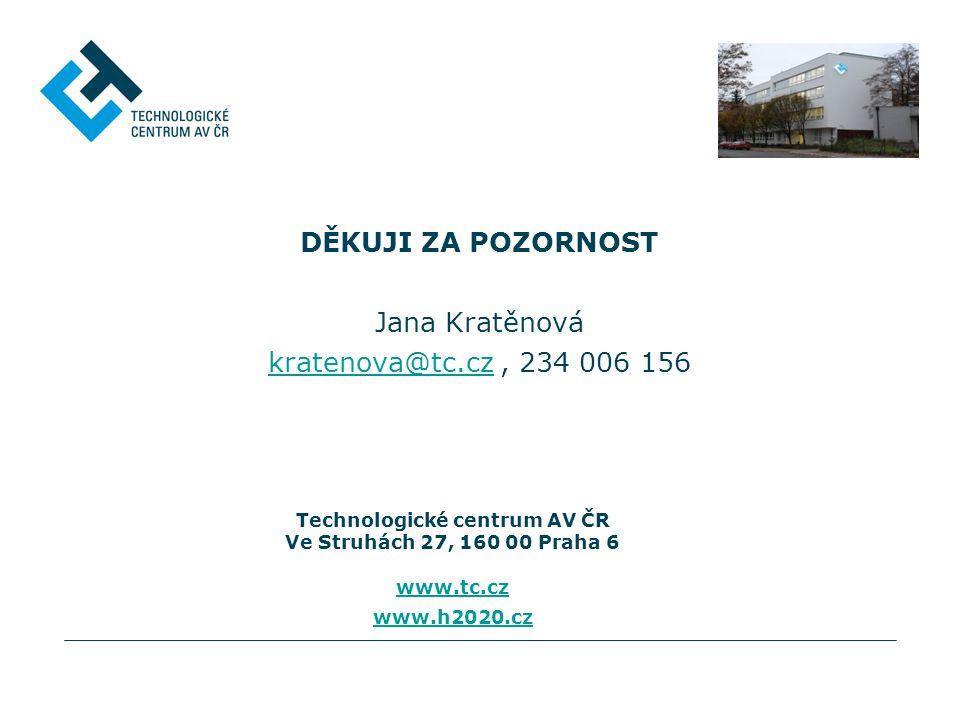 DĚKUJI ZA POZORNOST Jana Kratěnová kratenova@tc.cz , 234 006 156