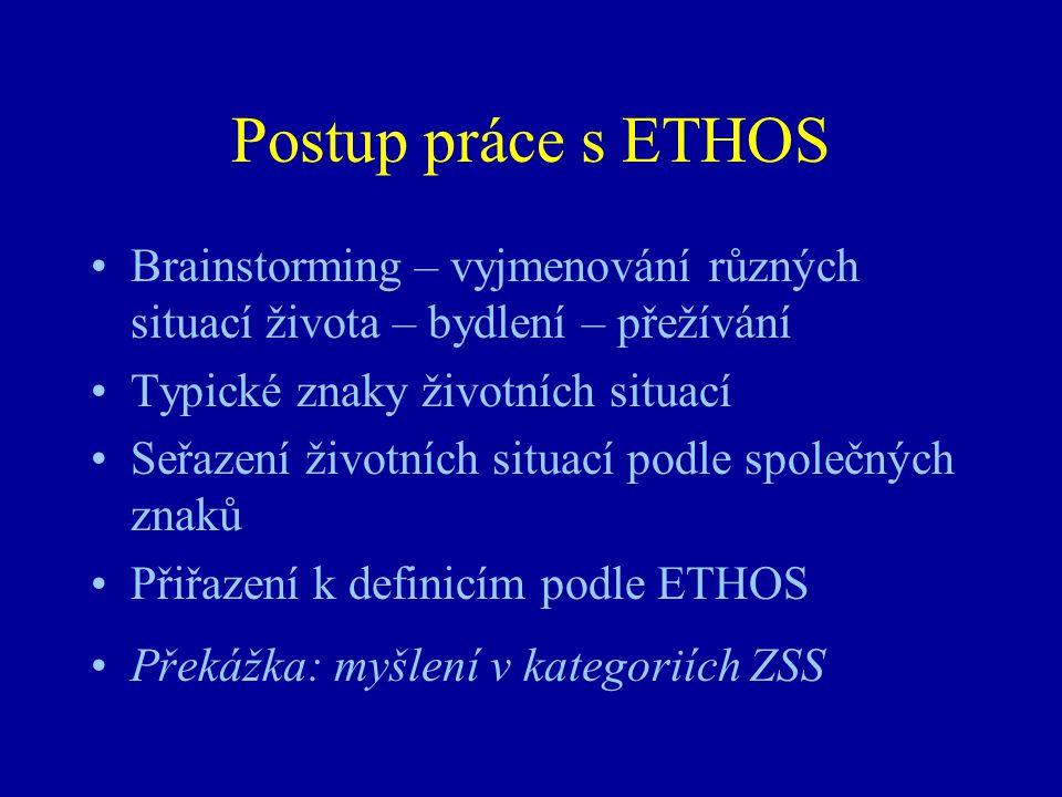Postup práce s ETHOS Brainstorming – vyjmenování různých situací života – bydlení – přežívání. Typické znaky životních situací.