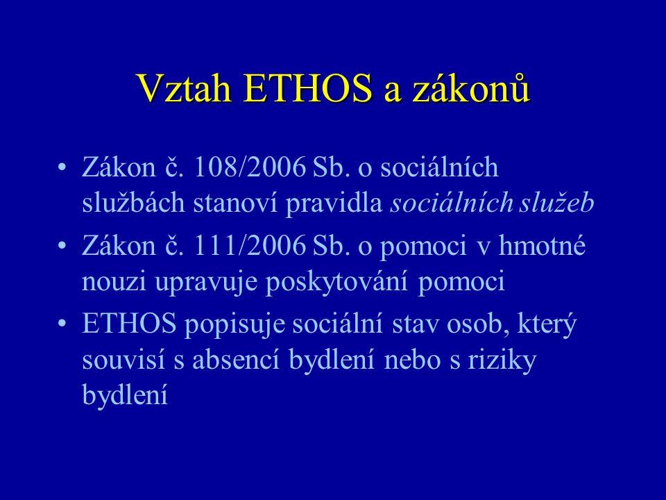 Vztah ETHOS a zákonů Zákon č. 108/2006 Sb. o sociálních službách stanoví pravidla sociálních služeb.