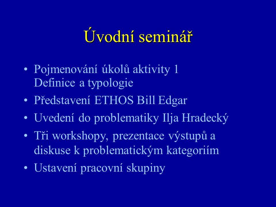 Úvodní seminář Pojmenování úkolů aktivity 1 Definice a typologie