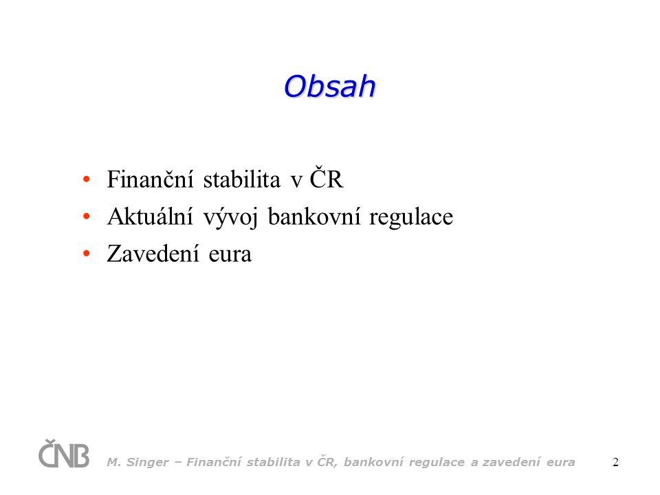 Obsah Finanční stabilita v ČR Aktuální vývoj bankovní regulace