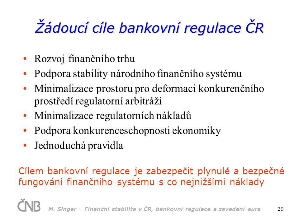 Žádoucí cíle bankovní regulace ČR