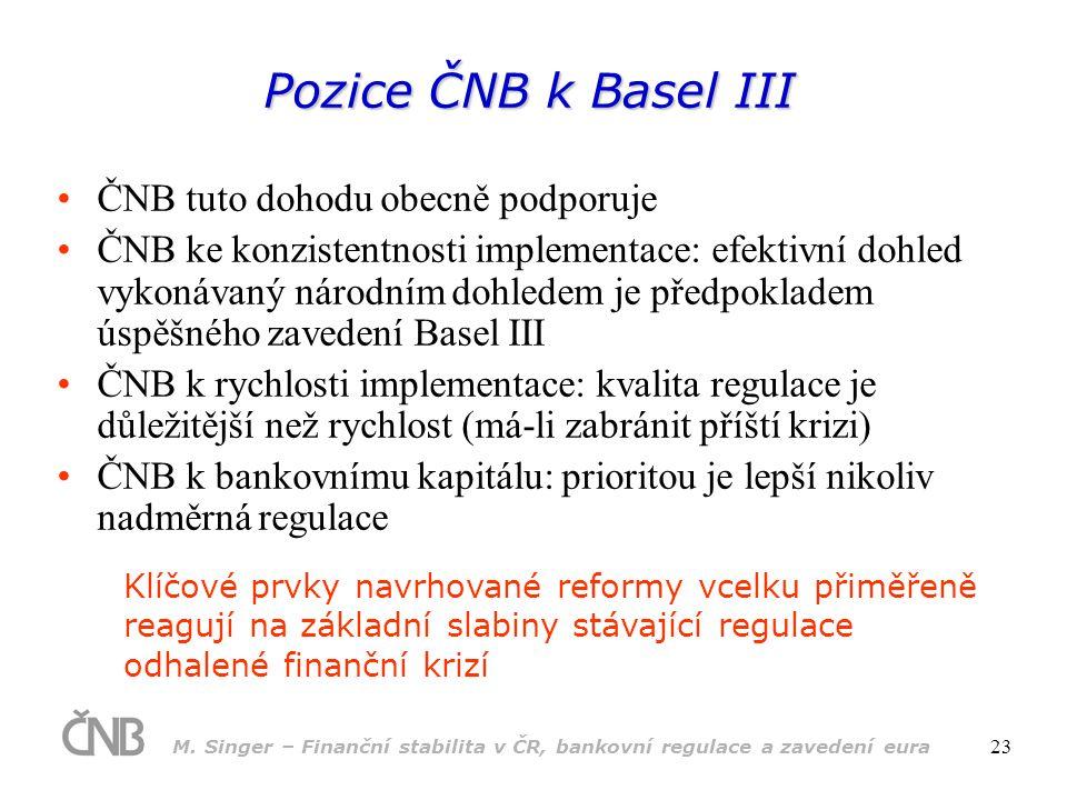 Pozice ČNB k Basel III ČNB tuto dohodu obecně podporuje