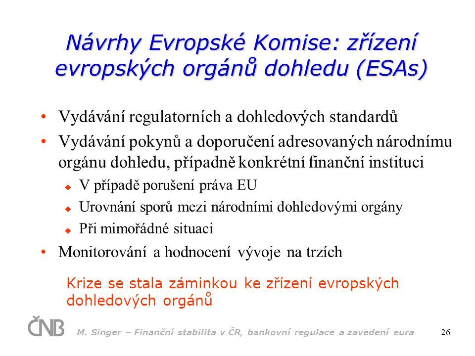 Návrhy Evropské Komise: zřízení evropských orgánů dohledu (ESAs)