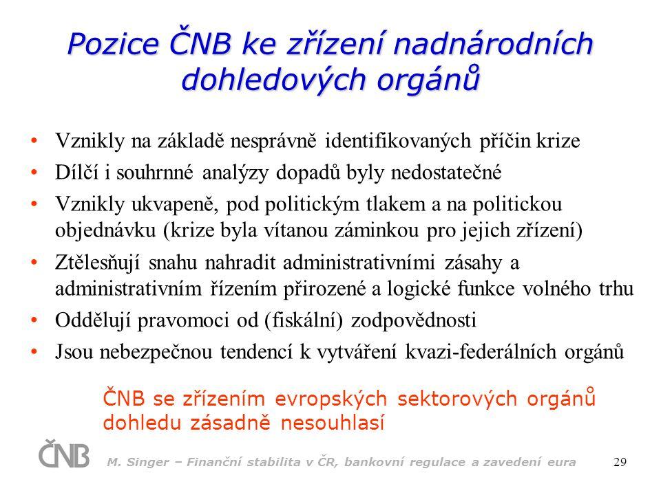 Pozice ČNB ke zřízení nadnárodních dohledových orgánů