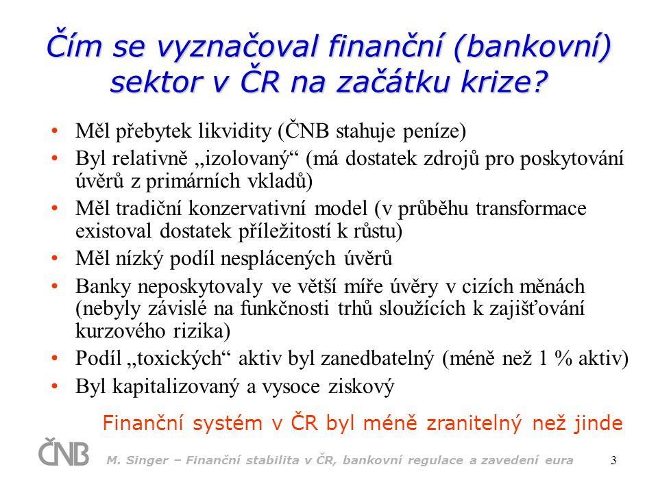 Čím se vyznačoval finanční (bankovní) sektor v ČR na začátku krize