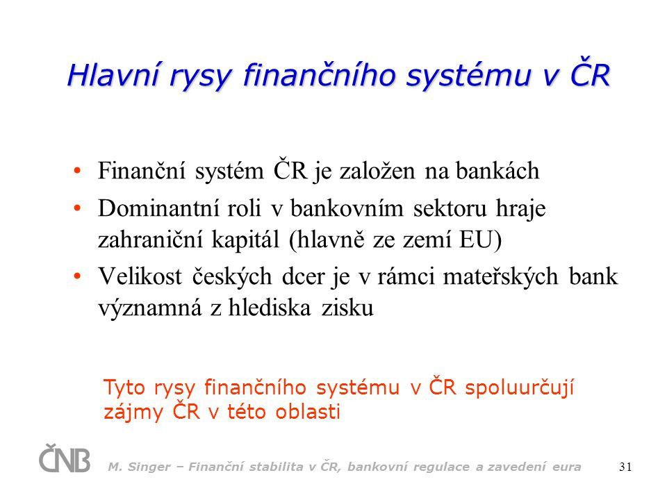 Hlavní rysy finančního systému v ČR