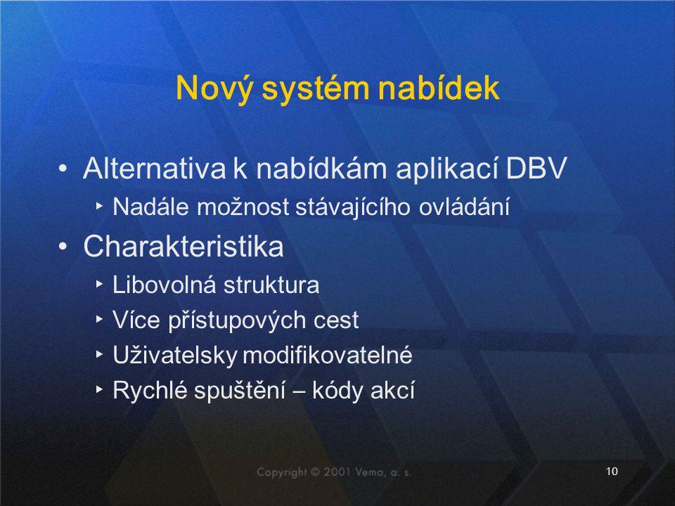 Nový systém nabídek Alternativa k nabídkám aplikací DBV