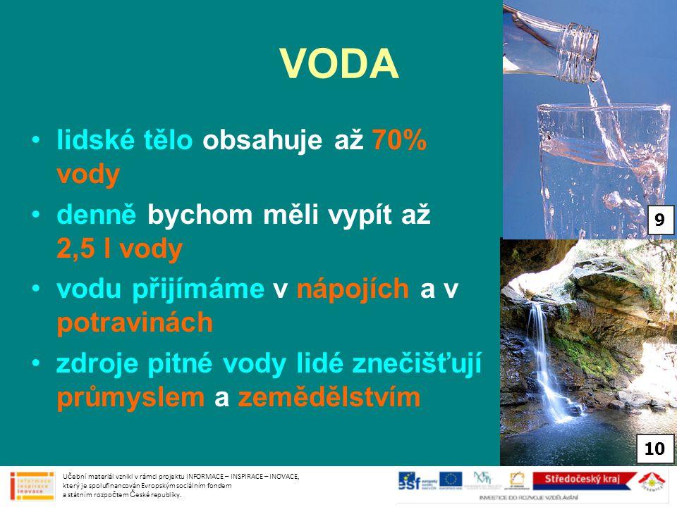 VODA lidské tělo obsahuje až 70% vody