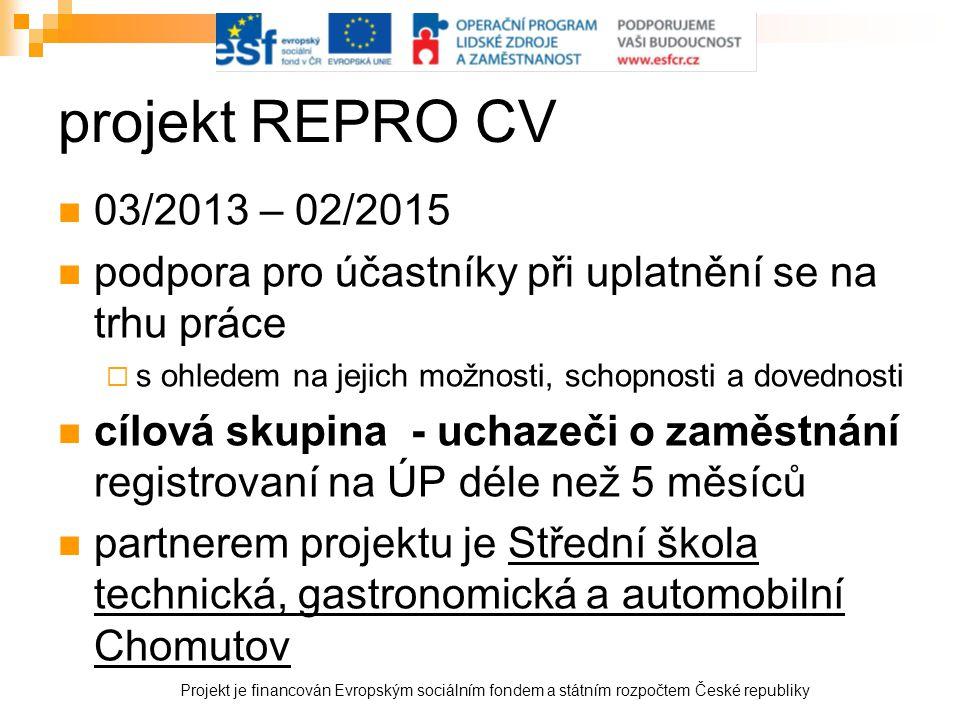 projekt REPRO CV 03/2013 – 02/2015. podpora pro účastníky při uplatnění se na trhu práce. s ohledem na jejich možnosti, schopnosti a dovednosti.