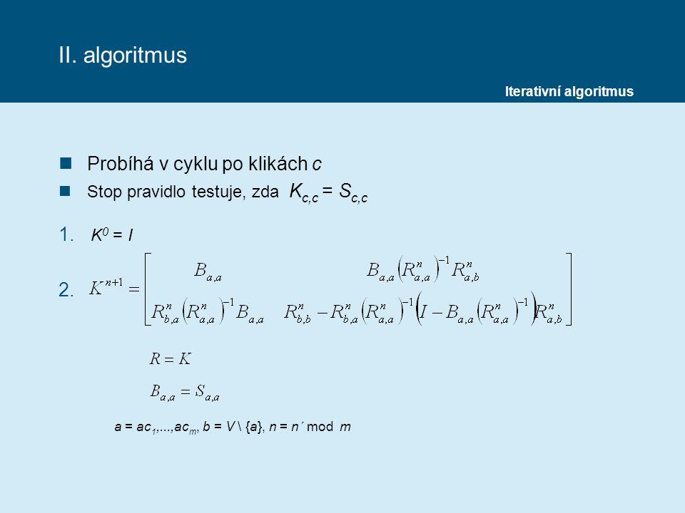 II. algoritmus Probíhá v cyklu po klikách c K0 = I