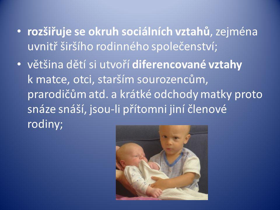 rozšiřuje se okruh sociálních vztahů, zejména uvnitř širšího rodinného společenství;