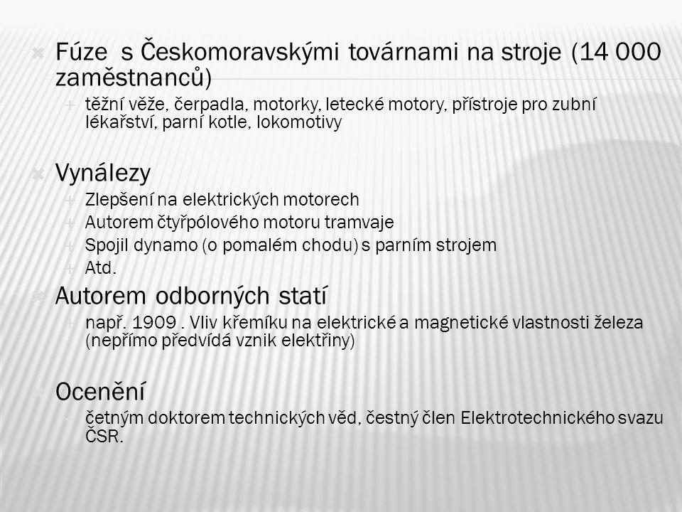 Fúze s Českomoravskými továrnami na stroje (14 000 zaměstnanců)