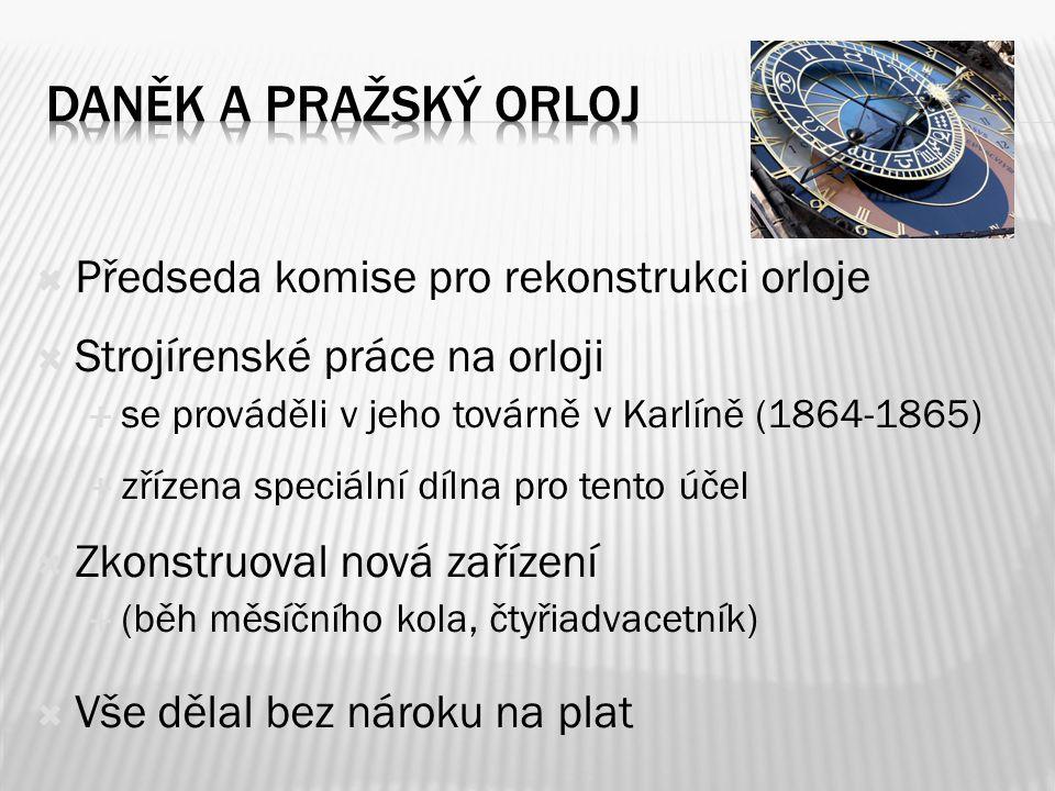 Daněk a pražský orloj Předseda komise pro rekonstrukci orloje