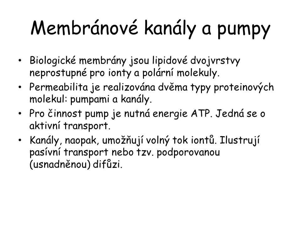 Membránové kanály a pumpy