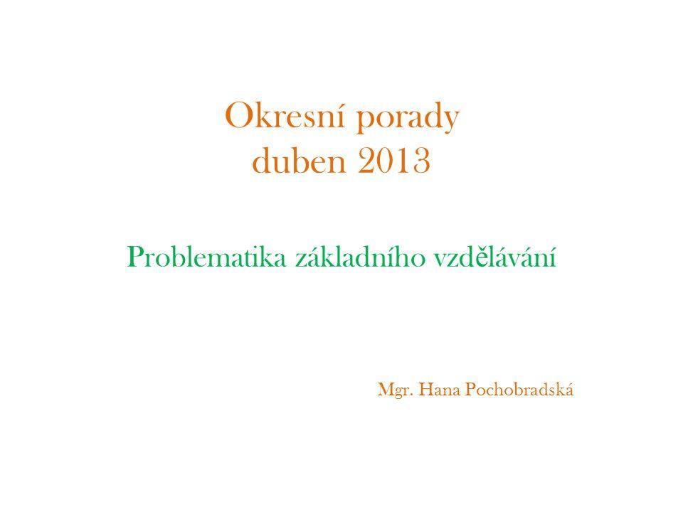 Problematika základního vzdělávání Mgr. Hana Pochobradská