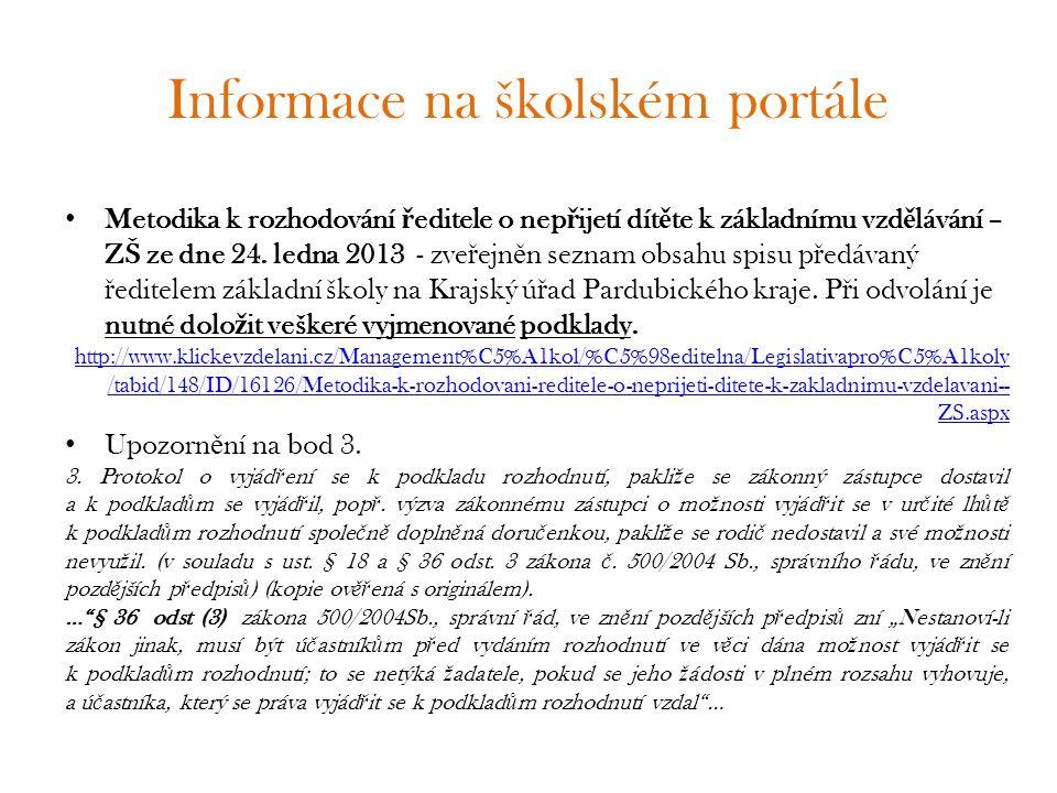 Informace na školském portále
