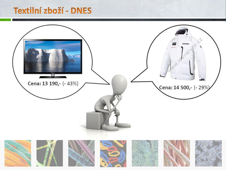 Textilní zboží - DNES Cena: 14 500,- (- 29%) Cena: 13 190,- (- 43%)