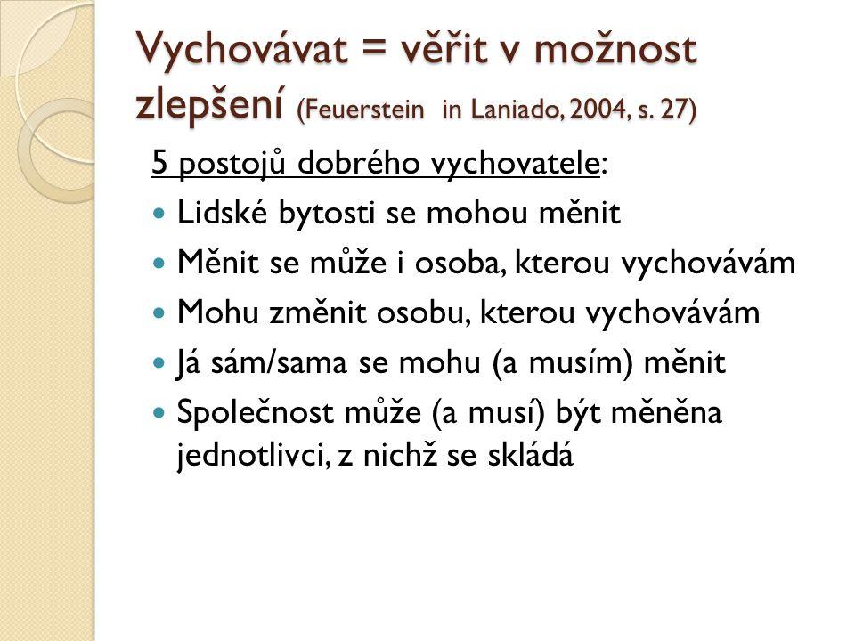 Vychovávat = věřit v možnost zlepšení (Feuerstein in Laniado, 2004, s