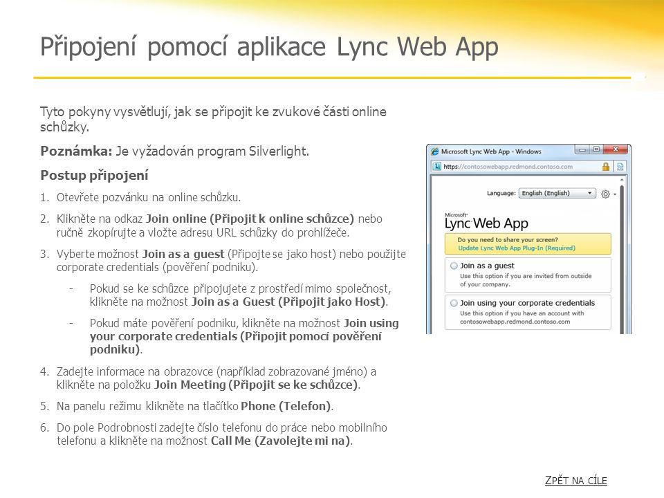 Připojení pomocí aplikace Lync Web App