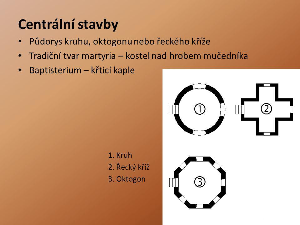 Centrální stavby Půdorys kruhu, oktogonu nebo řeckého kříže