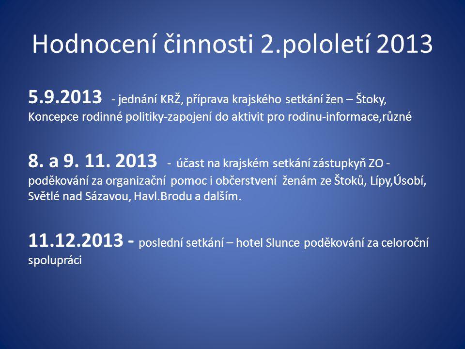 Hodnocení činnosti 2.pololetí 2013