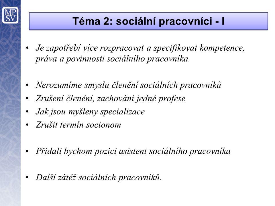 Téma 2: sociální pracovníci - I