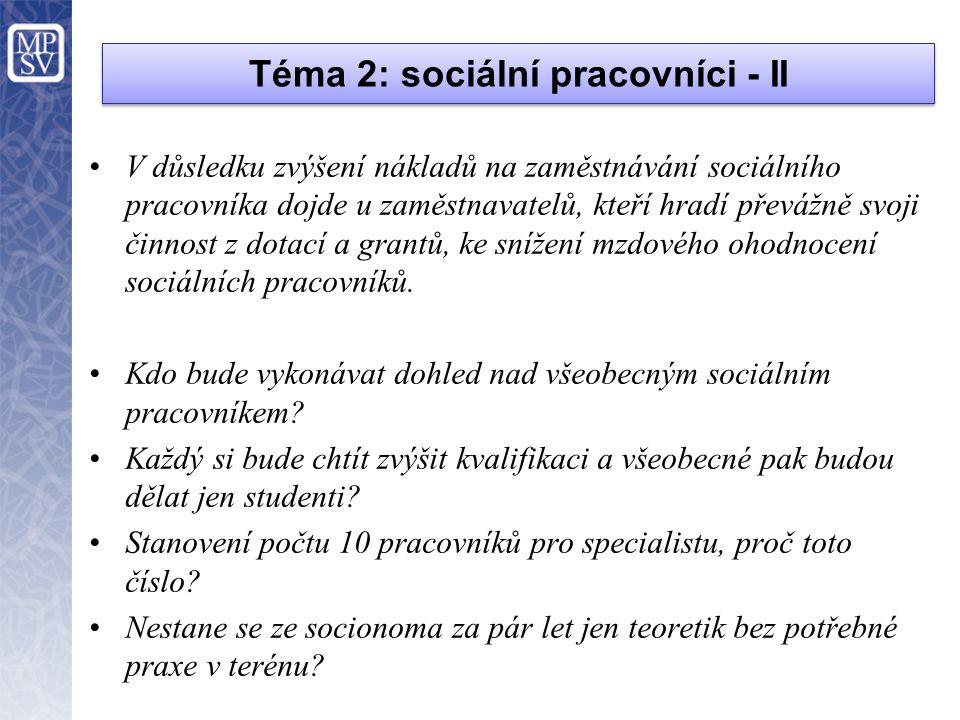 Téma 2: sociální pracovníci - II
