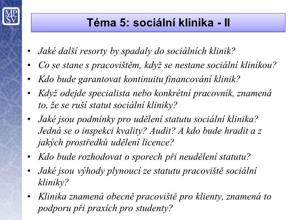 Téma 5: sociální klinika - II
