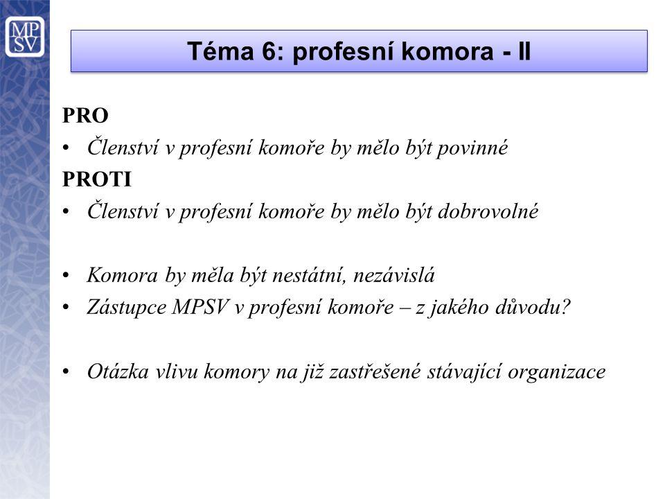 Téma 6: profesní komora - II