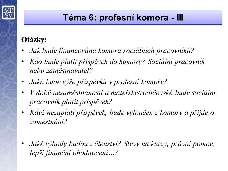 Téma 6: profesní komora - III