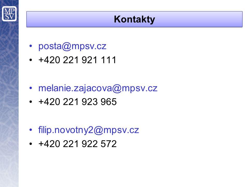 Kontakty posta@mpsv.cz. +420 221 921 111. melanie.zajacova@mpsv.cz. +420 221 923 965. filip.novotny2@mpsv.cz.
