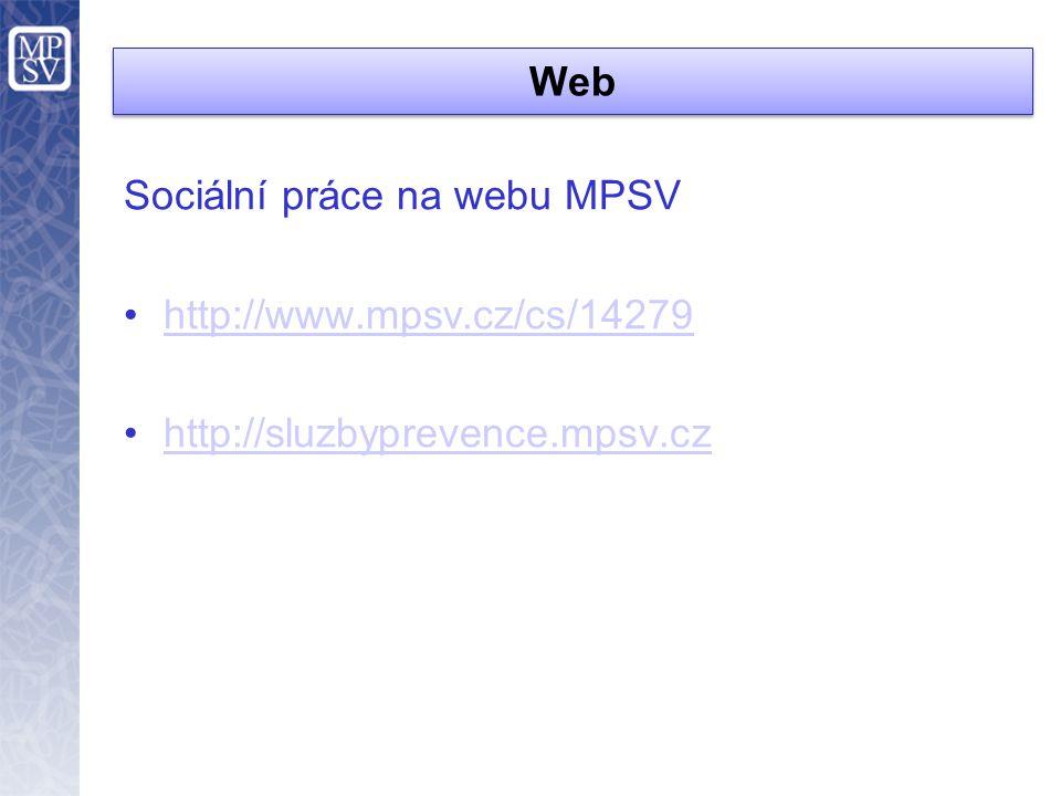 Web Sociální práce na webu MPSV http://www.mpsv.cz/cs/14279 http://sluzbyprevence.mpsv.cz