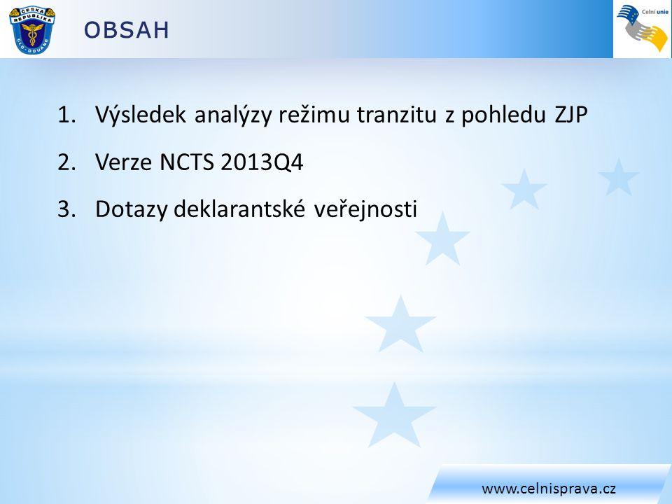 Výsledek analýzy režimu tranzitu z pohledu ZJP Verze NCTS 2013Q4
