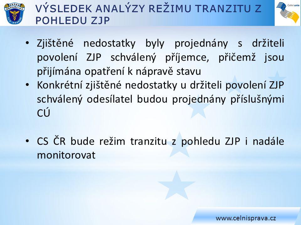 CS ČR bude režim tranzitu z pohledu ZJP i nadále monitorovat