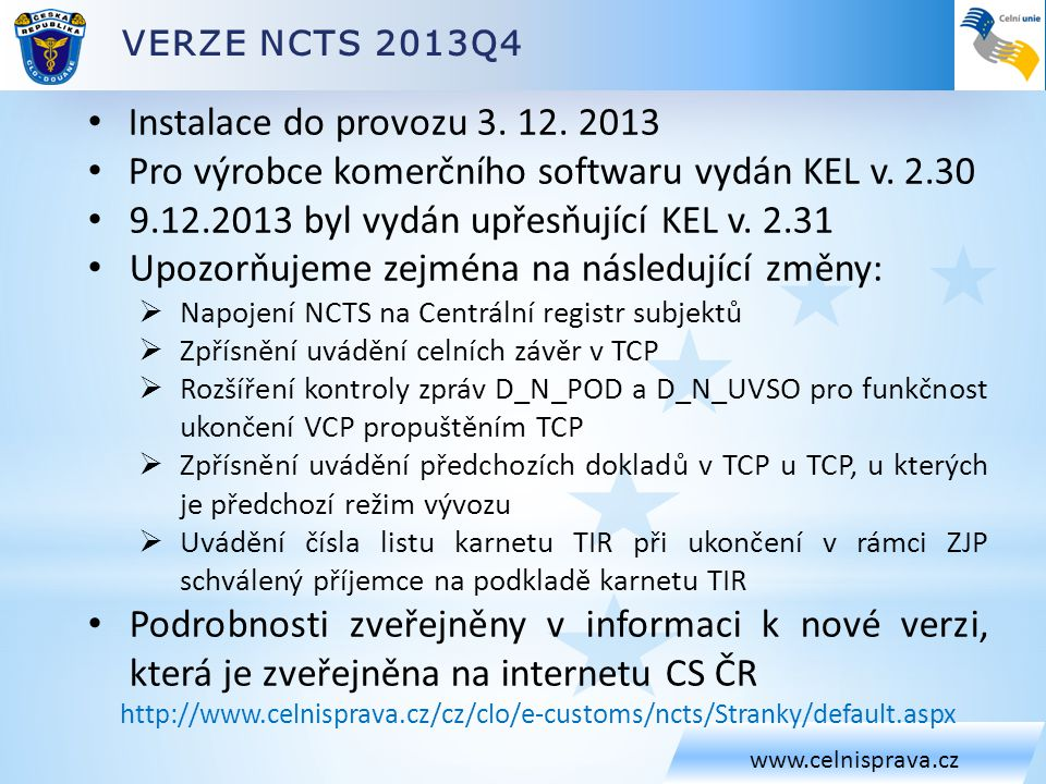 Pro výrobce komerčního softwaru vydán KEL v. 2.30