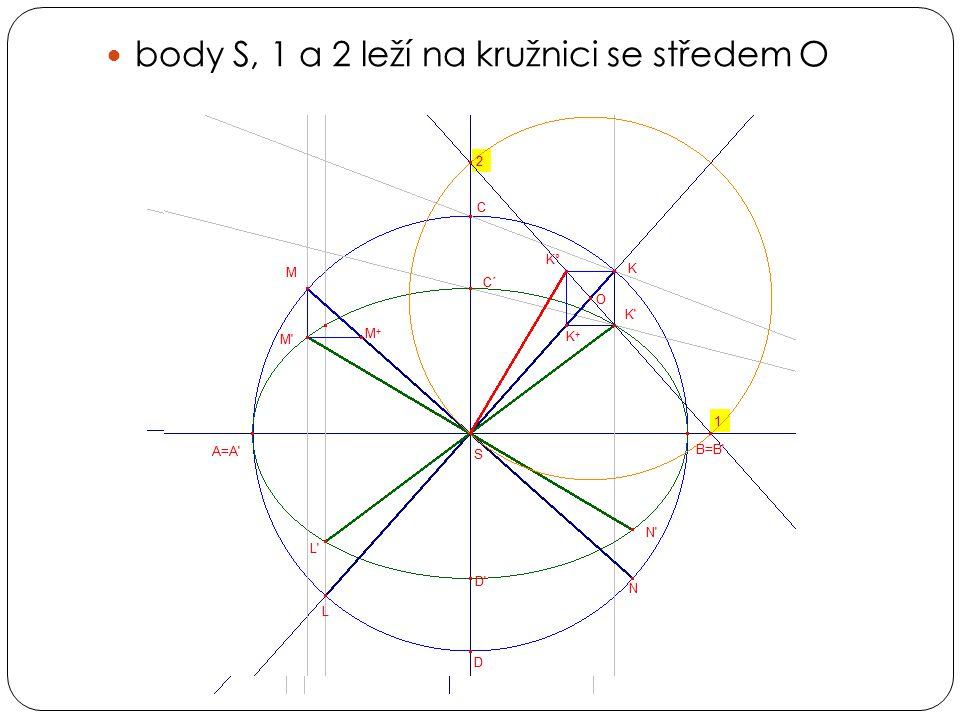 body S, 1 a 2 leží na kružnici se středem O